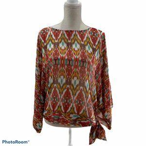 Andrew Charles women's Sz M shirt sheer colorful